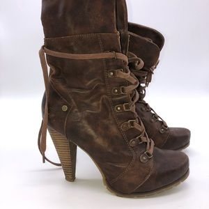 High heel brown leather lace up boots from Aldo
